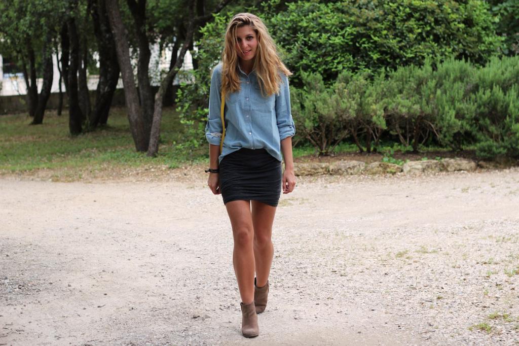 Chemise Sheinside Jeans Délavé