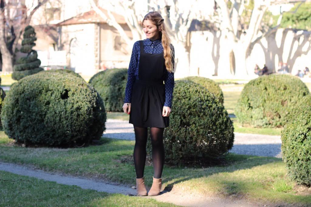 Salopette Robe Noire Chemise à pois