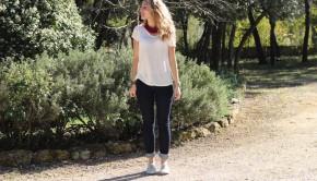 Jeans à Pois T-shirt Lin Blanc Oysho