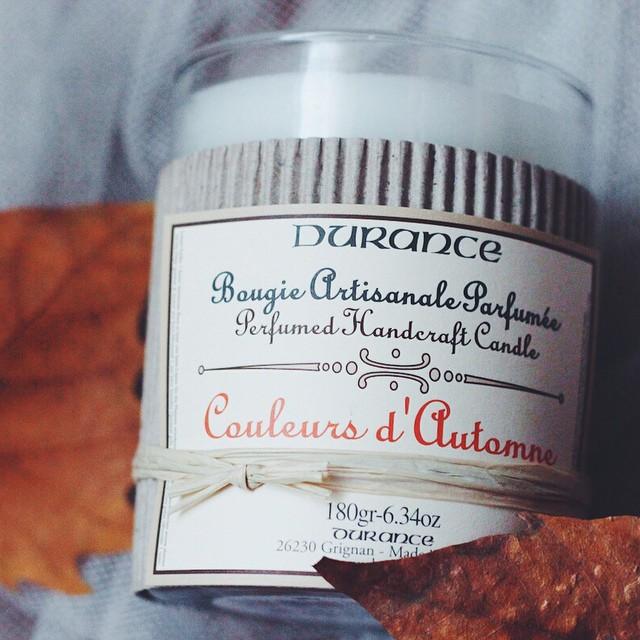 #Concours spécial automne avec #Durance: suite à l'article du jour sur le blog,  tentez de gagner cette jolie bougie parfumée aux