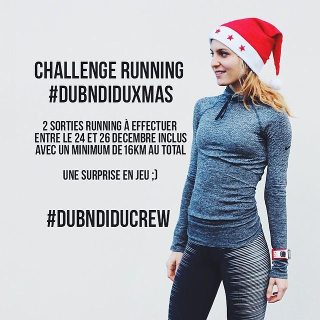 Difficile de courir durant Noël ? Mais pas impossible ! ?? CHALLENGE RUNNING SPECIAL NOËL pour garder la motivation en cette fin d'année ?? >>> #DubndiduXmas ??<<< En quelques mots, les règles : - Courir 16km au TOTAL entre le 24 et le 26 décembre inclus (soit 3 jours)?☀️? ➡️COMMENT CA MARCHE >>> Il ne s'agit pas de courir 16km en une fois (sauf si vous le voulez), mais de faire par exemple 2 sorties type 8km+8km = 16km ou 10km+6km, ou encore 6+6+4km... ➡️Le BUT est d'atteindre (voire dépasser pour les plus courageuses) ce total de 16km.?⚡️ ➡️COMMENT PARTICIPER ? (se motiver entre nous et surtout peut-être remporter la récompense ;) :➡️ Partagez vos performances et photos sur Twitter OU/ET Instagram avec les hashtags #DubndiduXmas et #Dubndiducrew.?☀️⚡️? BONS RUNS A TOUTES ???#challengerunning #dubndiducrew #dubndiduxmas #challengeyourself #xmasrun #running #instarunners #nikerunning #nikeplus #girlslove2run #instafit #running #cap #igrunneuses #motivation ⚡️?