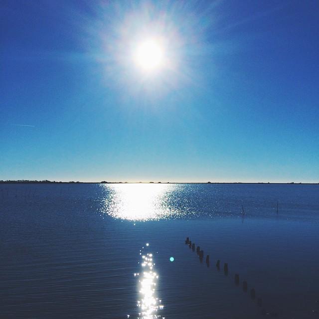 Blue on blue ☀️? #beach #sunlight #sunny #sunrise #southoffrance #winter #sea #sun #bluesky #vscocam