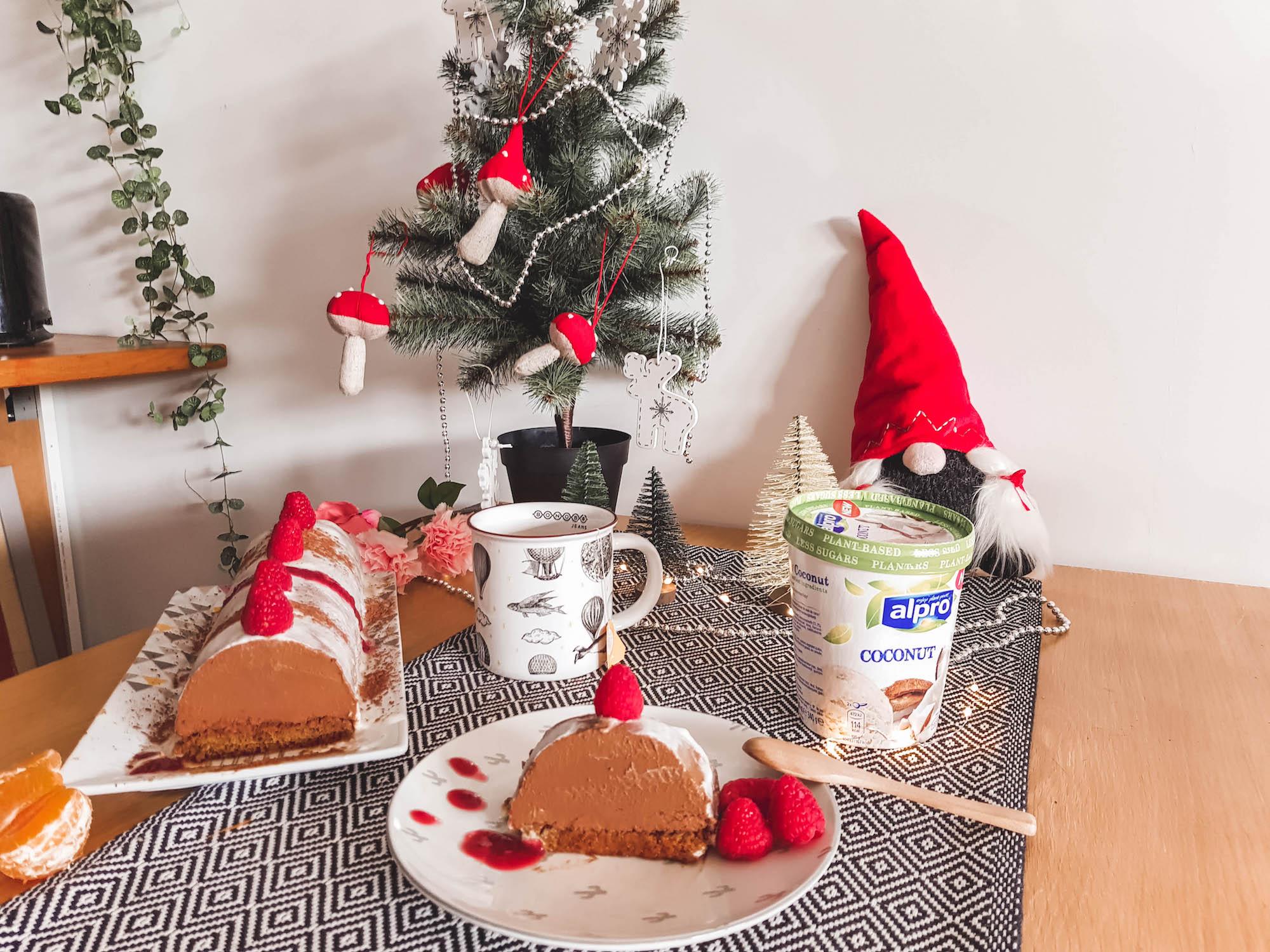 Noël: Recette Bûche Vegan Chocolat-Coco-Fruits Rouges